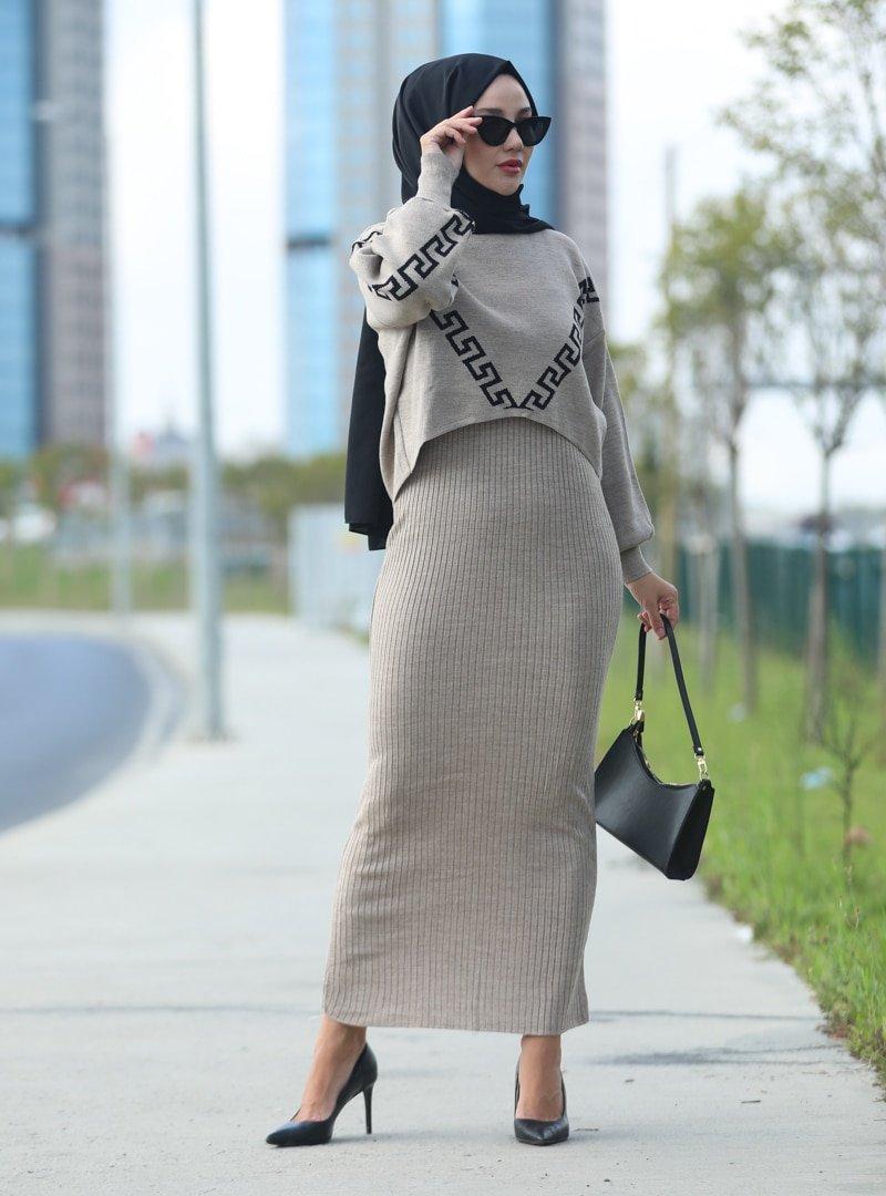 Tekbir Vizon Yarım Balıkçı Triko Elbise