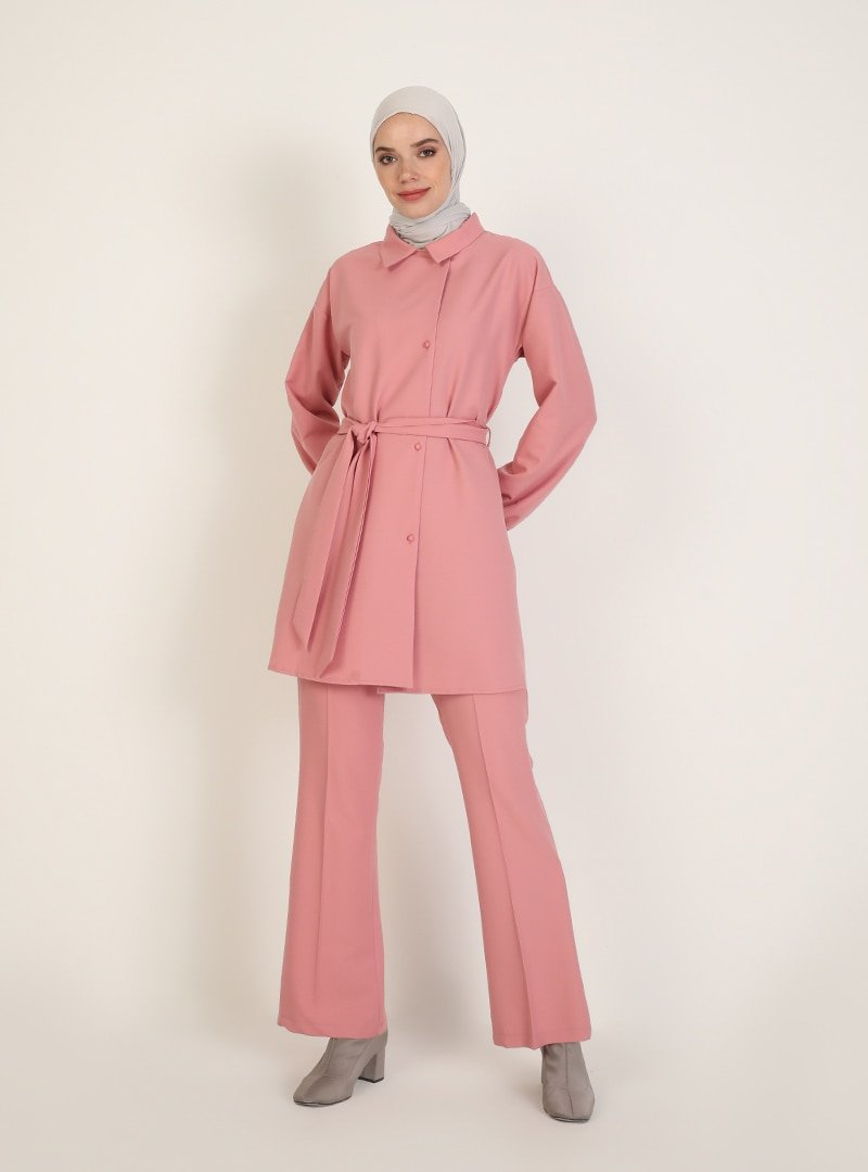 Ziwoman Pembe Tunik & Pantolon İkili Takım