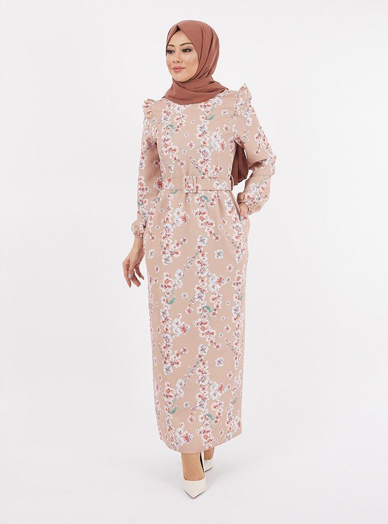 TESETTURİUM Vizon Dijital Baskılı Krep Elbise