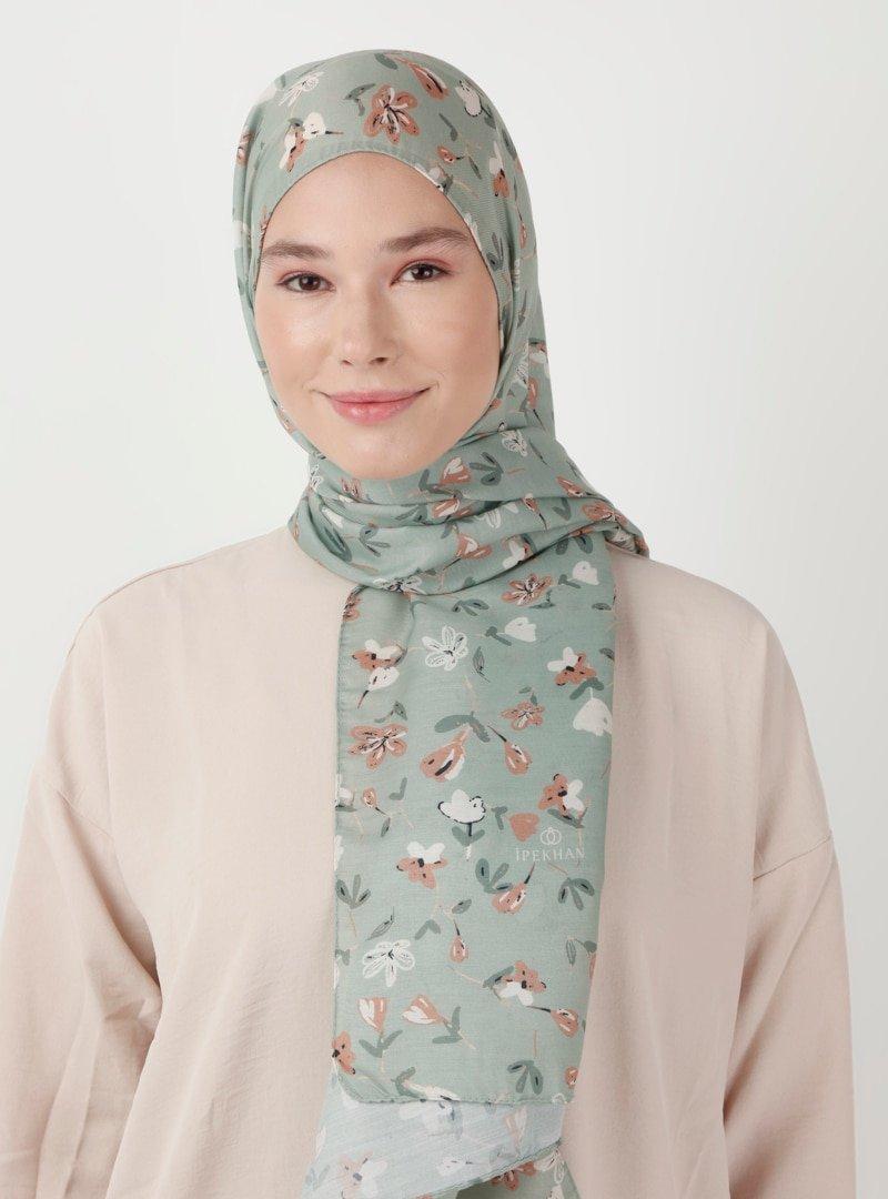 İpekhan Mint Yeşili Lily Desen Şal