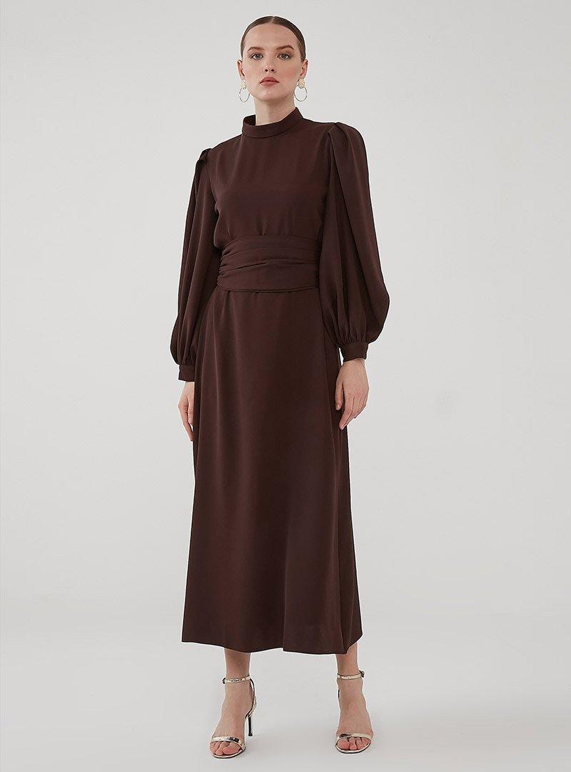 Birgül Bektaş Kahverengi Nora Abiye Elbise