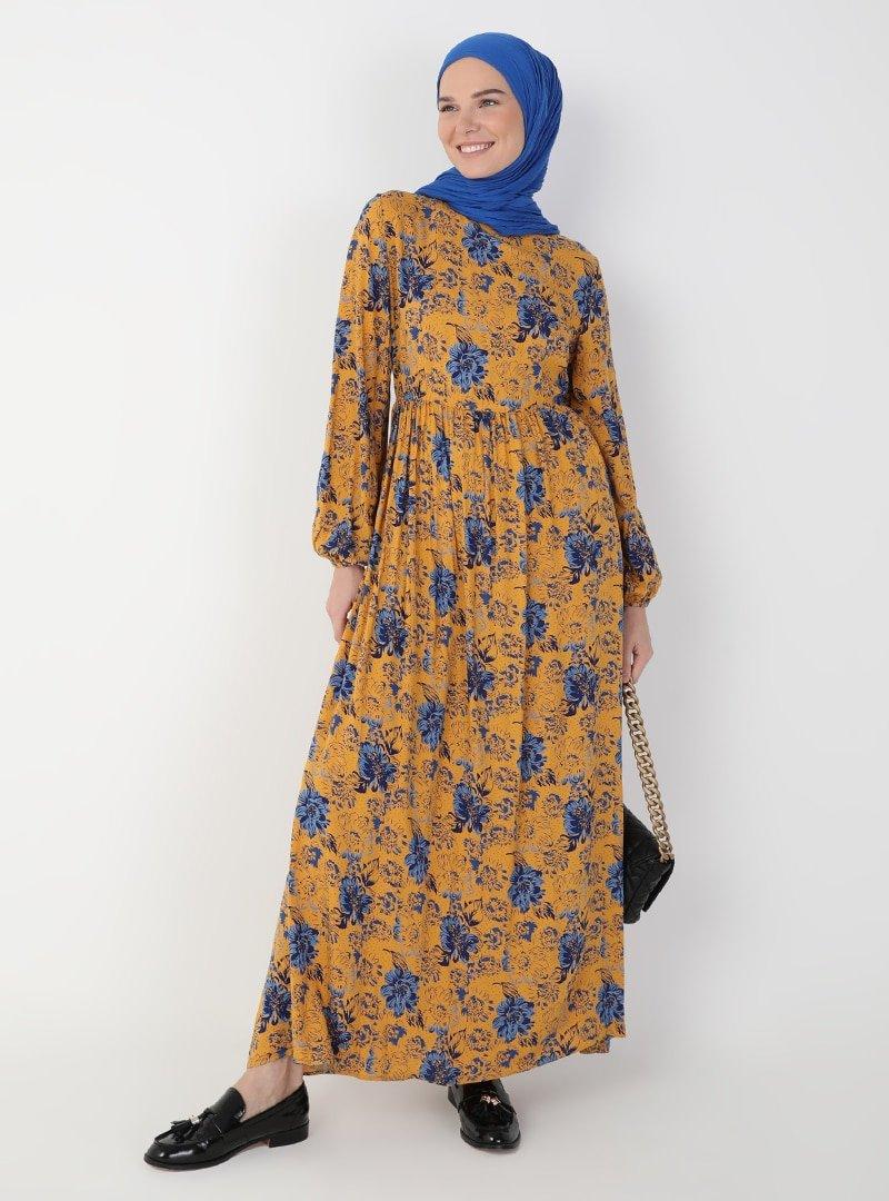 Ziwoman Sarı Desenli Elbise