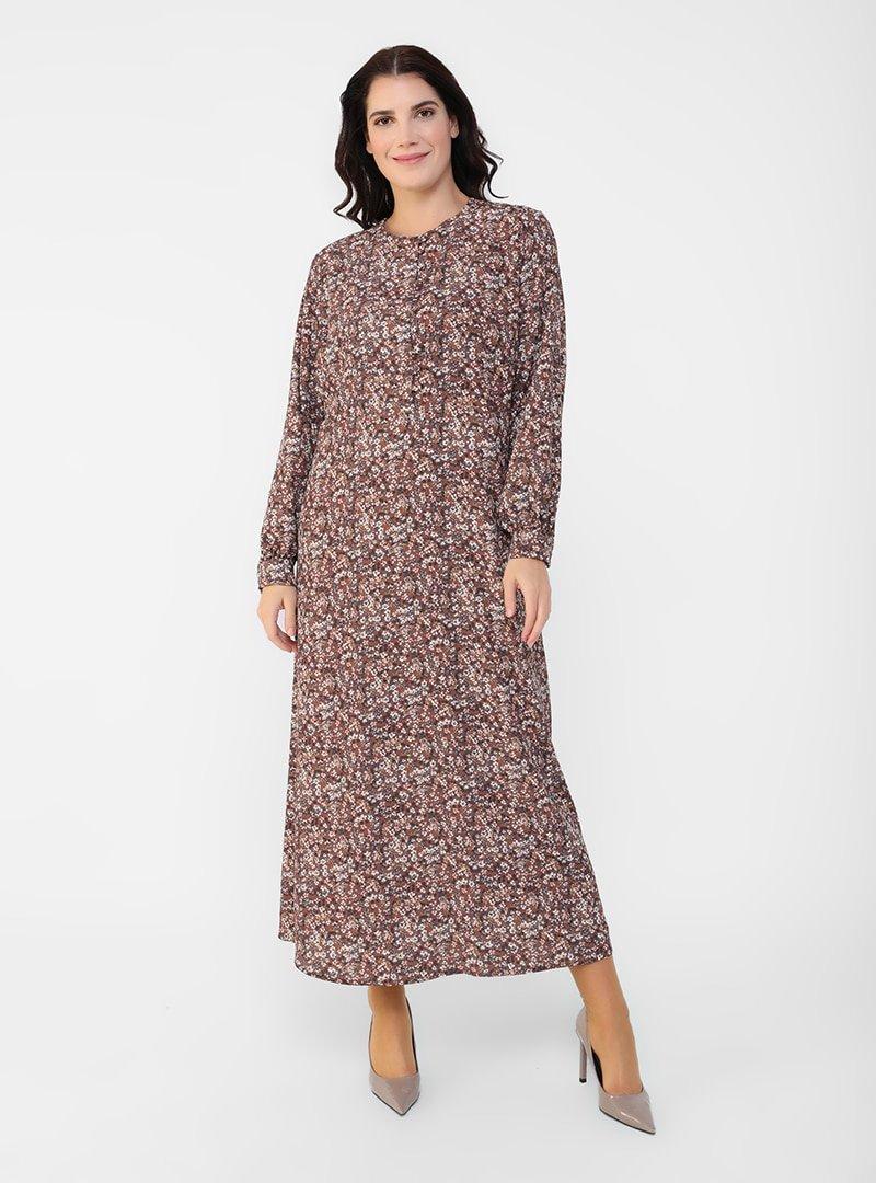 Alia Çok Renkli Büyük Beden Brit Detaylı Çiçek Desenli Elbise