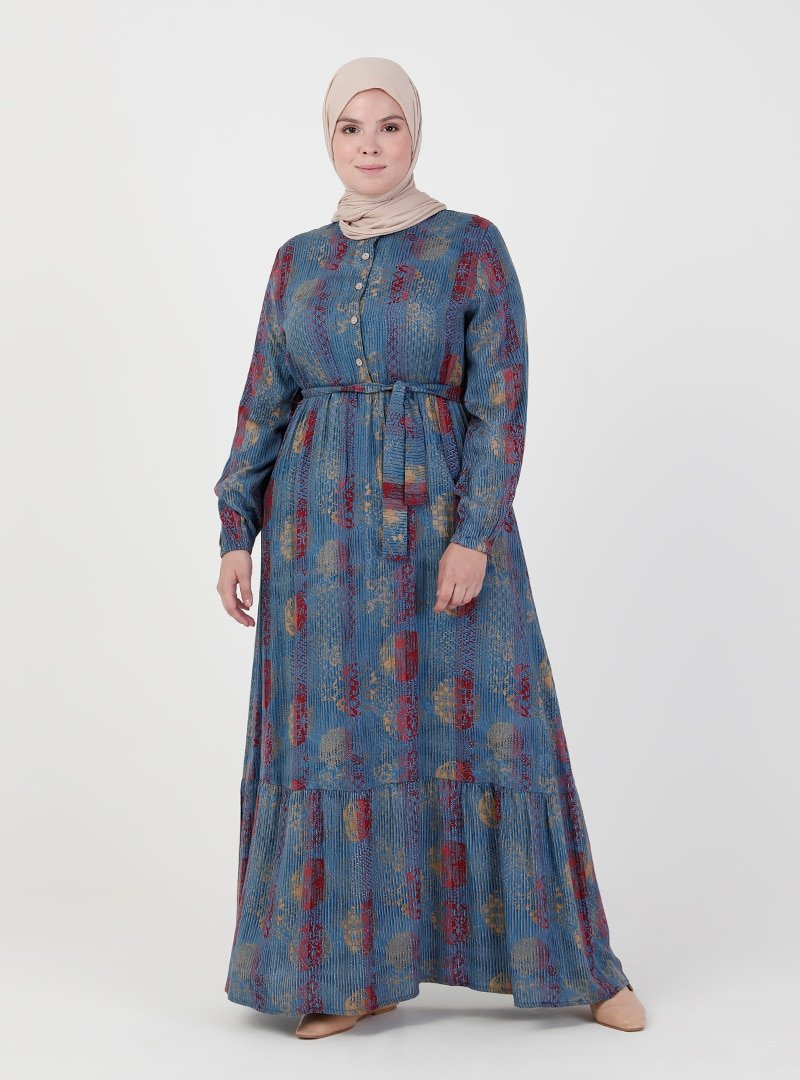 ZENANE İndigo Beli Lastikli Desenli Elbise