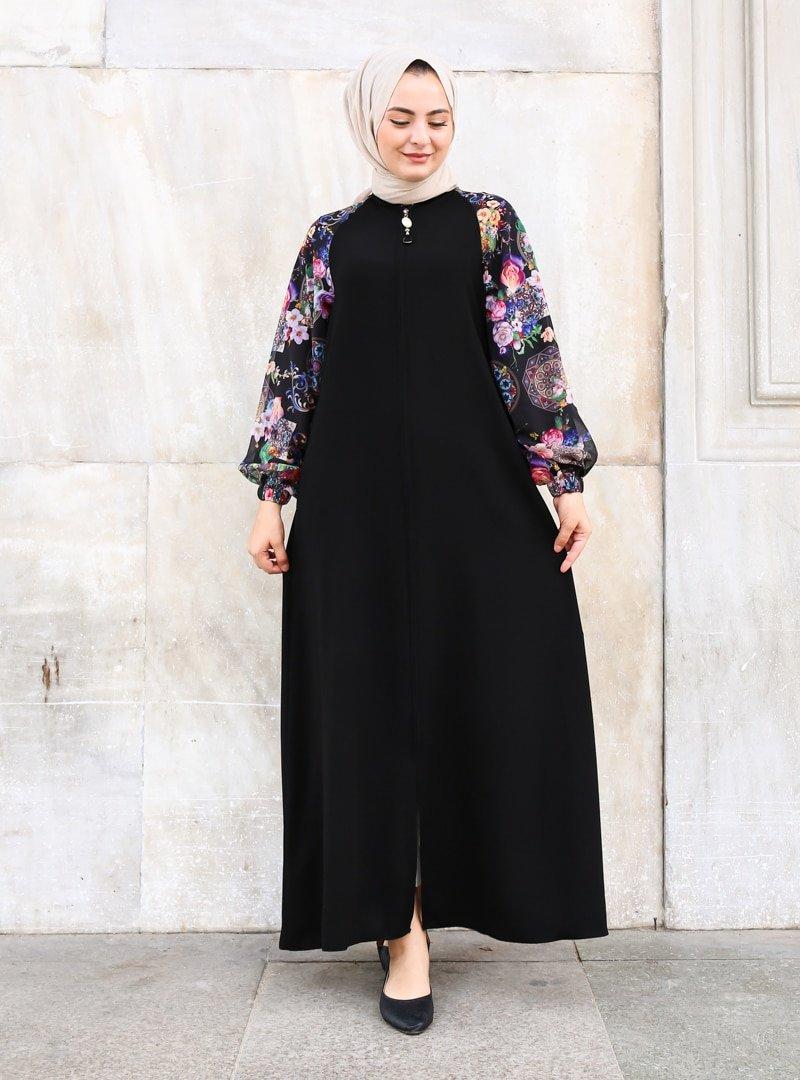 ŞAHİN FERACE Siyah Osmanlı Desenli Ferace