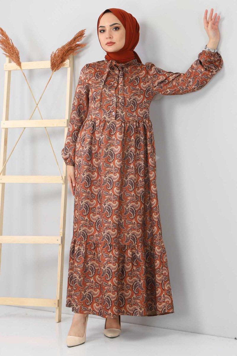 Tesettür Dünyası Taba Şal Desenli Elbise