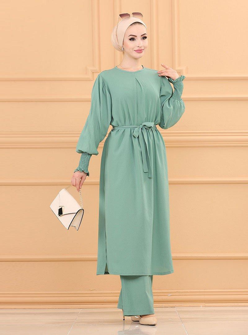 Tofisa Mint Yeşili Tunik & Pantolon İkili Takım