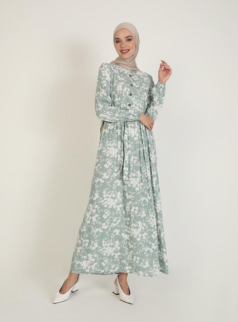ECESUN Mint Yeşili Çiçek Desenli Elbise
