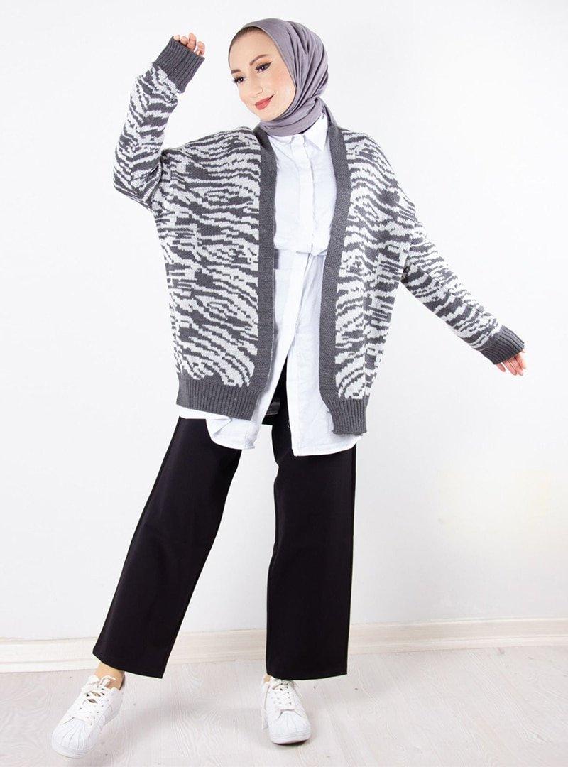 Topless Gri Zebra Desenli Triko Hırka