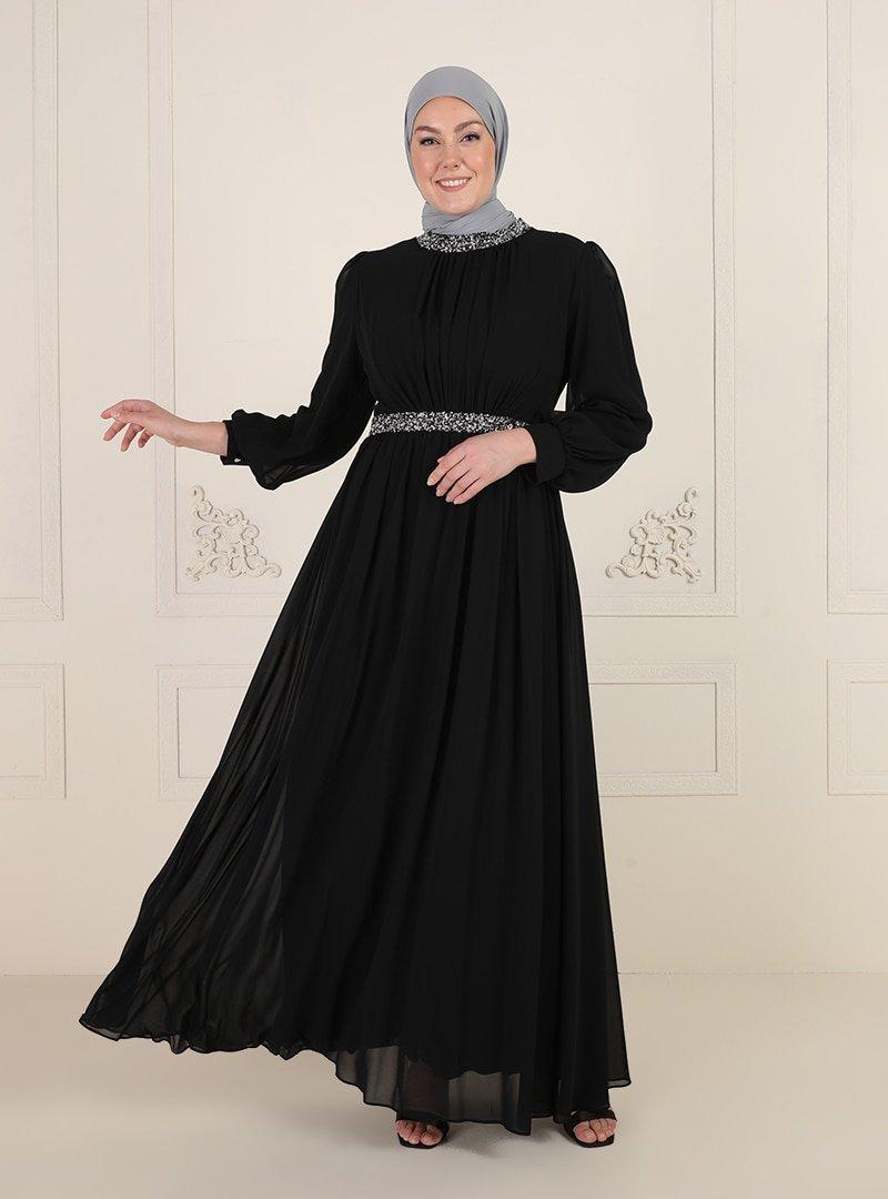 MODAYSA Siyah Yaka Ve Beli Taşlı Abiye Elbise