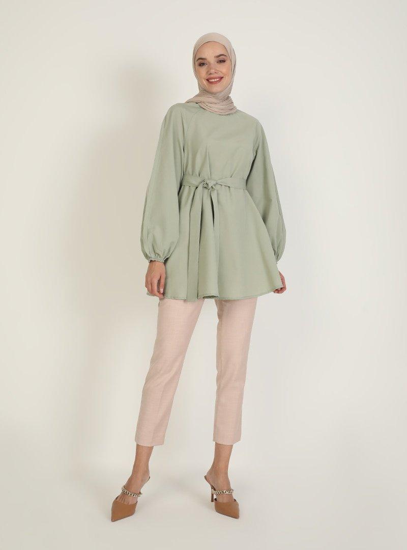 İnşirah Mint Yeşili Koton Tunik