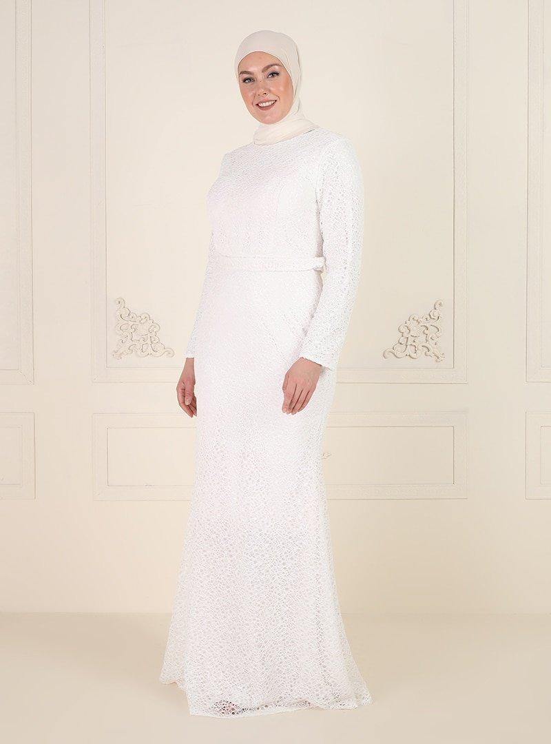 Mileny Beyaz Pul Detaylı Abiye Elbise