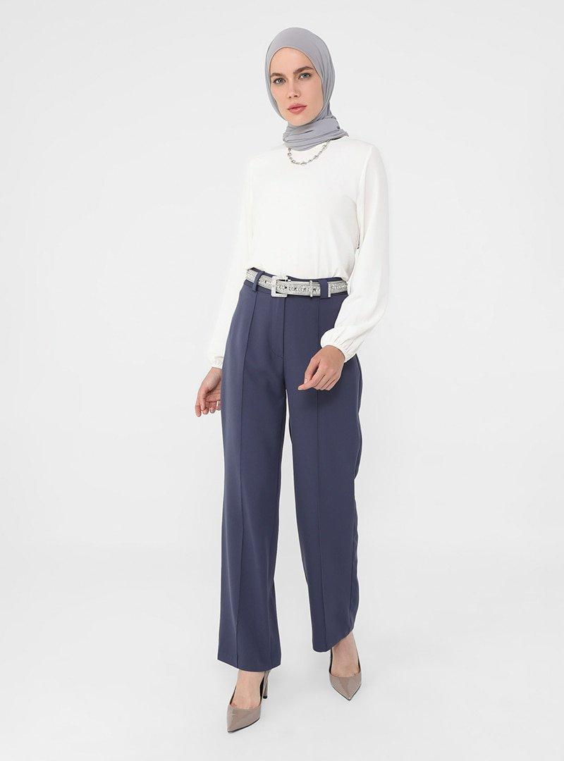 Refka Lacivert Nervür Dikişli Klasik Kumaş Pantolon