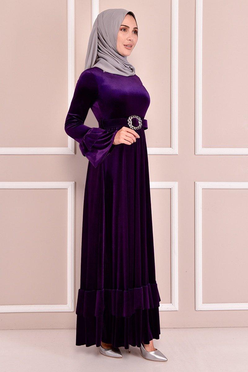 Moda Merve Mor Kemerli Kadife Elbise