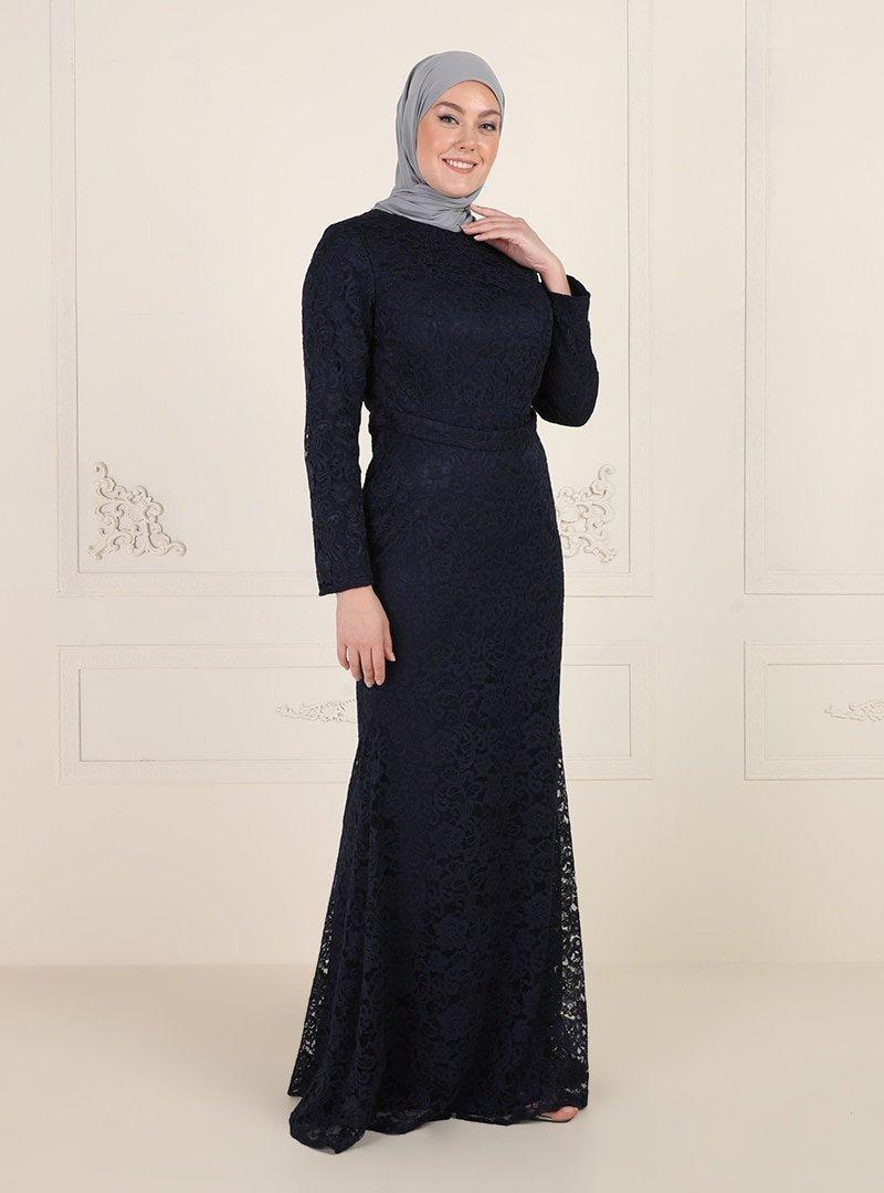 Mileny Lacivert Dantelli Abiye Elbise