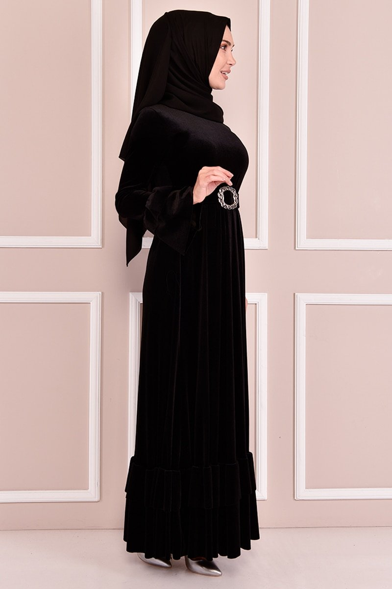 Moda Merve Siyah Kemerli Kadife Elbise