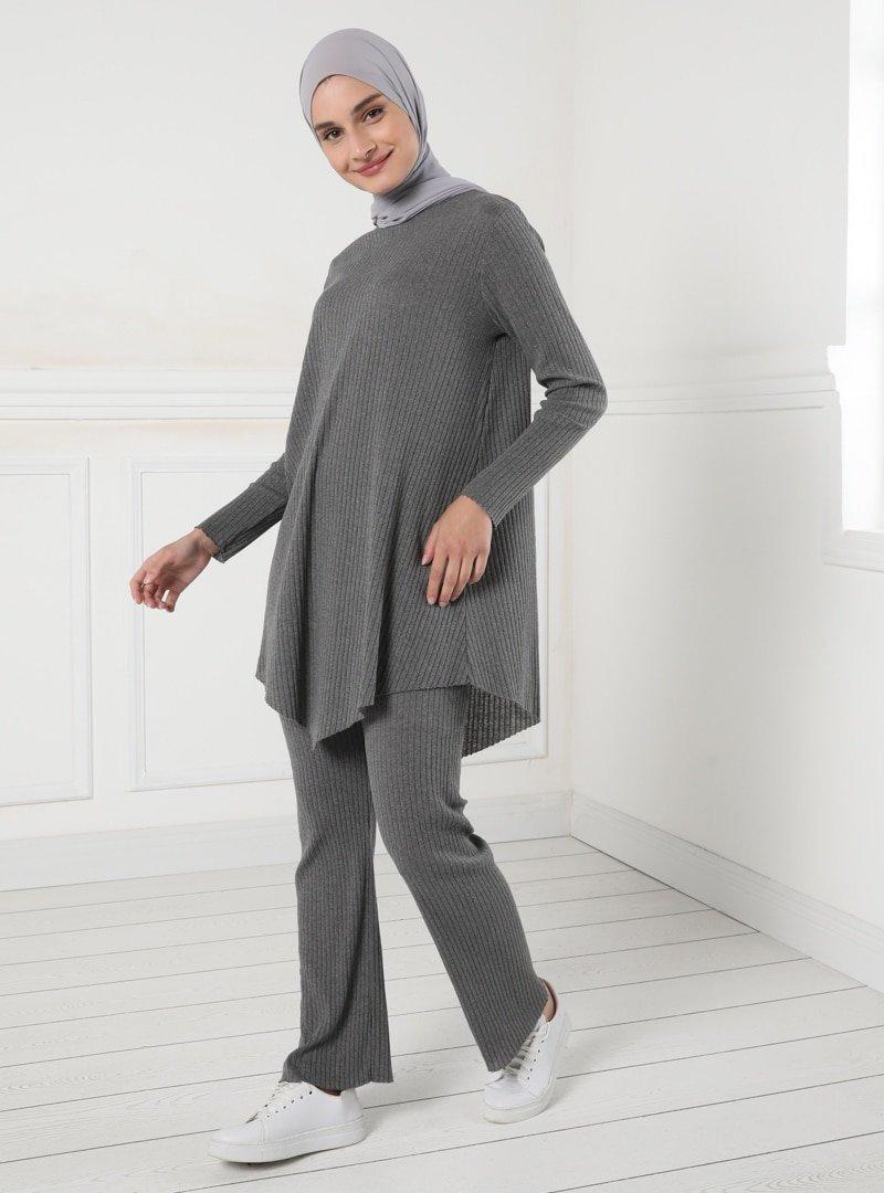 Tavin Antrasit Doğal Esnek Kumaş Beli Lastikli Pantolon
