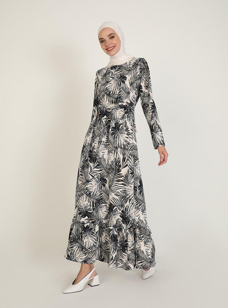 ECESUN Gri Desenli Elbise