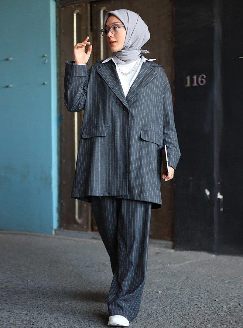 Ceylan Otantik Antrasit Çizgili Ceket & Pantolon İkili Takım
