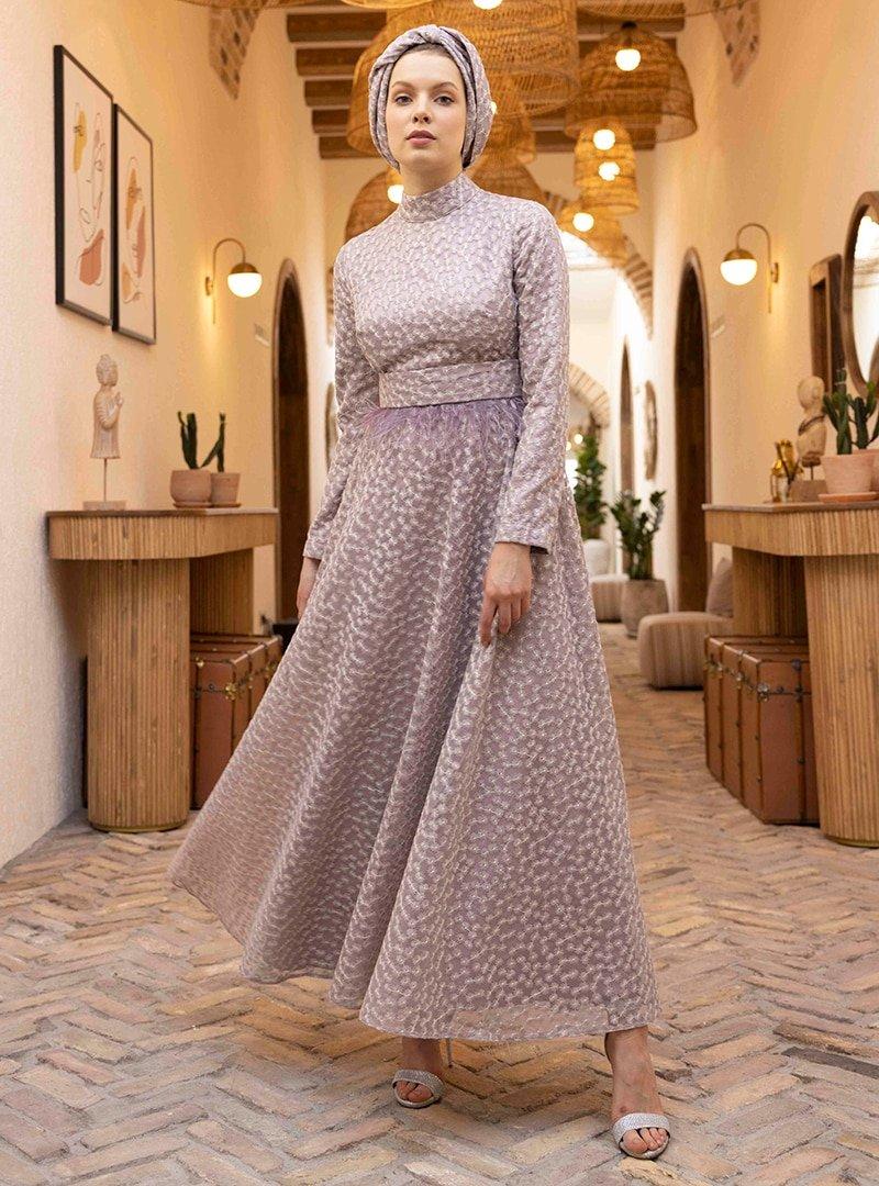 Al Tatari Lila Hürrem Nakış Detaylı Elbise