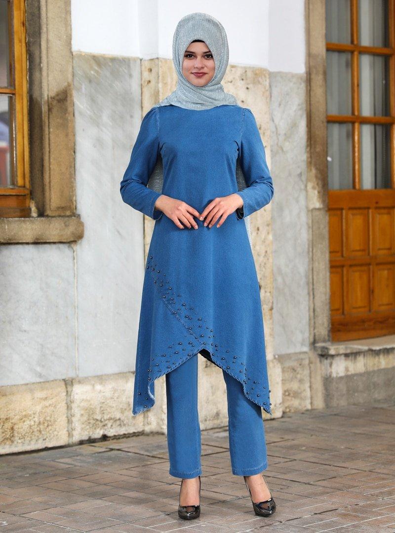 Sure Mavi Siyah İnci Tunik & Pantolon İkili Kot Takım