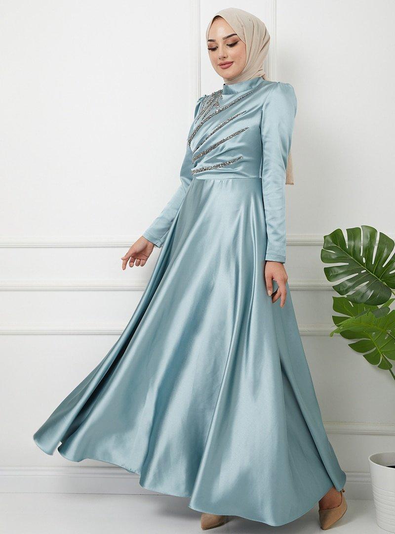 Olcay Mint Önü Volan Ve Taş Detaylı Saten Abiye Elbise