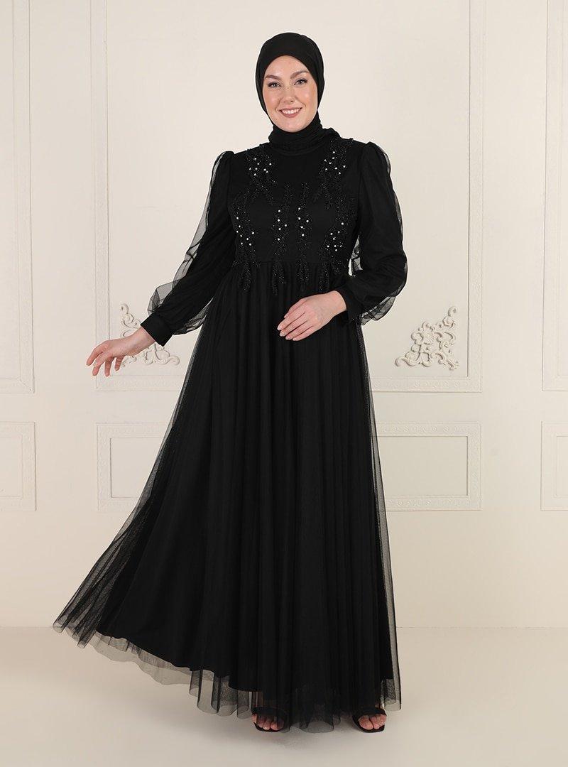 MODAYSA Siyah İşlemeli Abiye Elbise