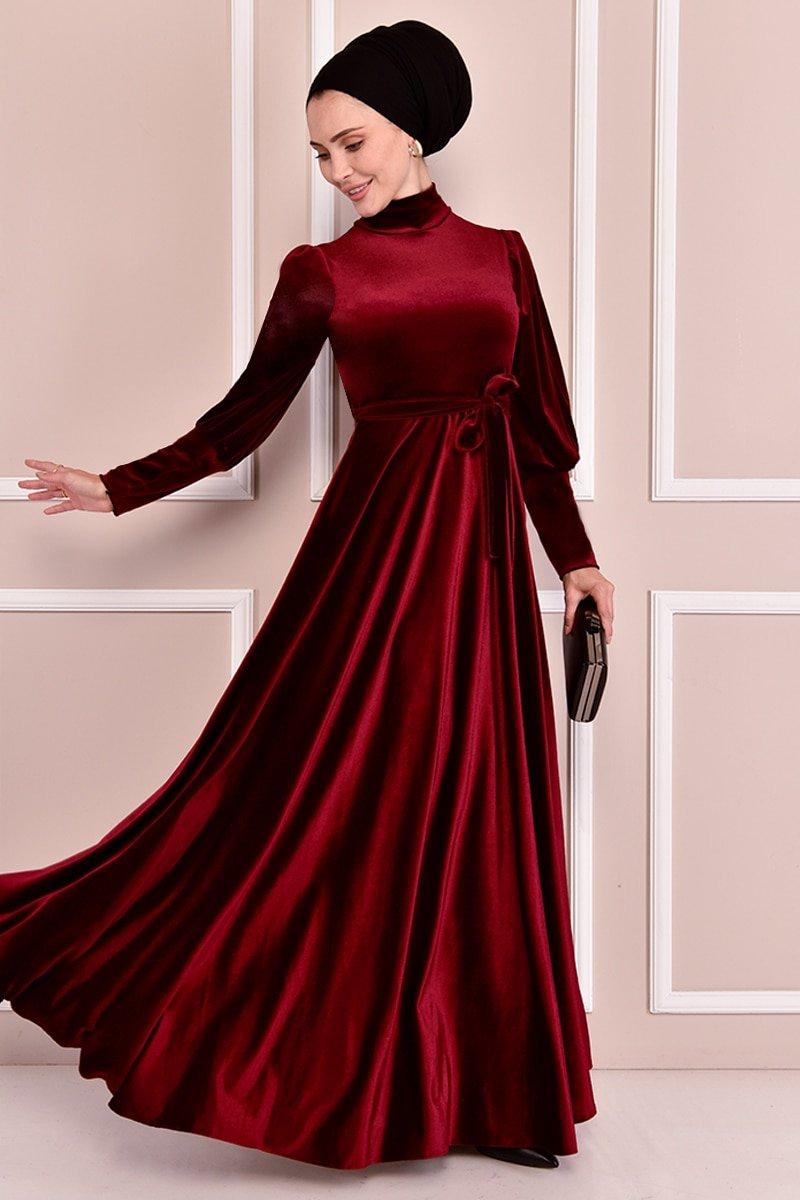 Moda Merve Bordo Kuşaklı Kadife Elbise