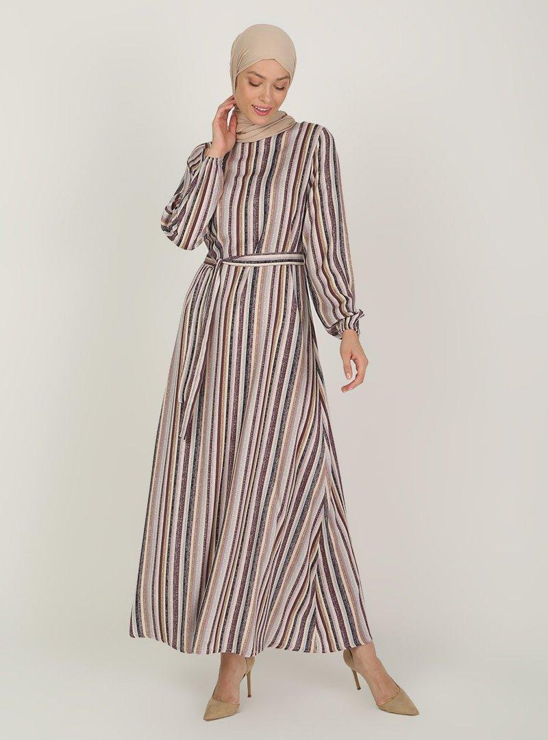 ECESUN Lila Çizgili Desenli Elbise