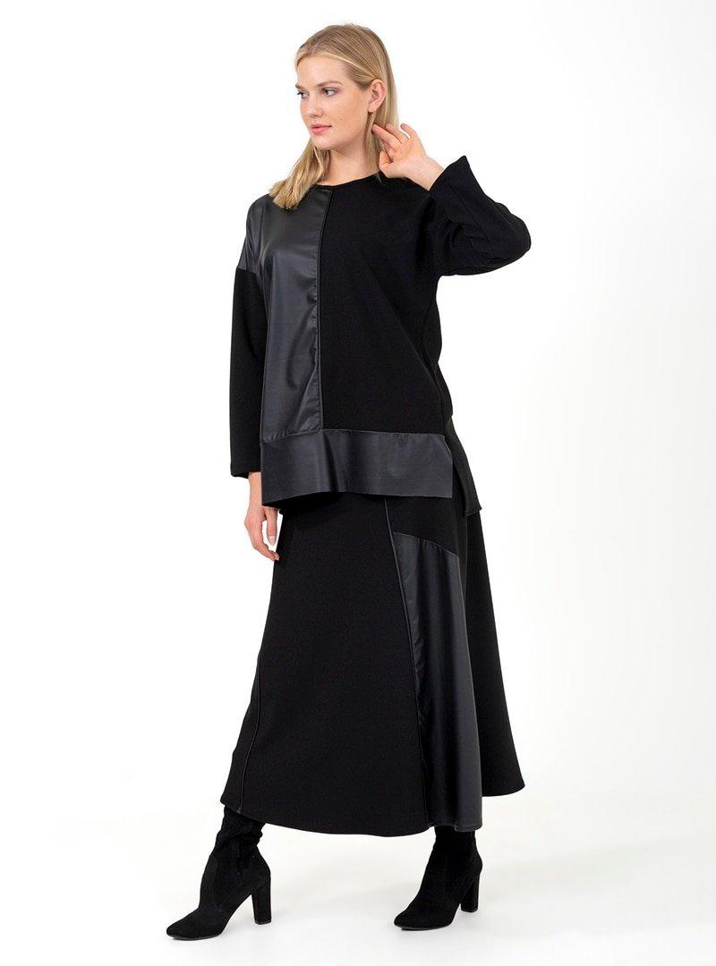 ONX10 Siyah Deri Parçalı Tunik & Etek İkili Takım