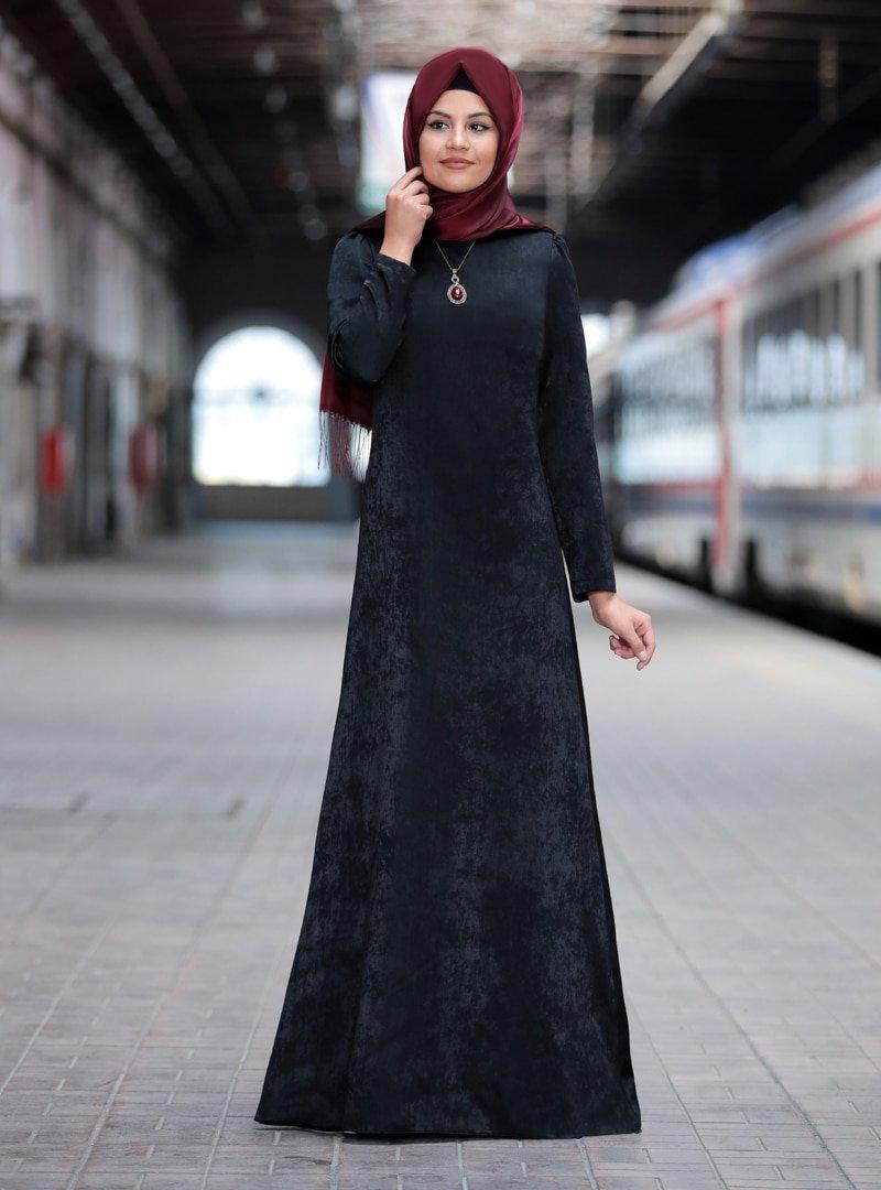 Sure Siyah Esin Elbise
