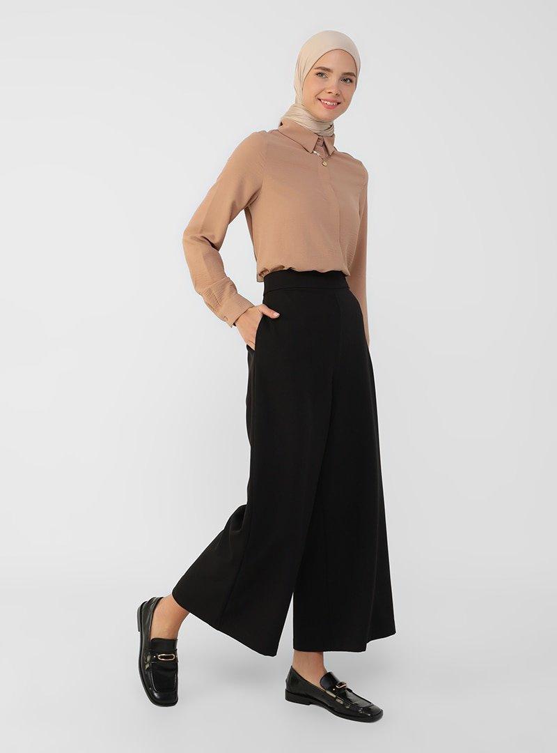Refka Siyah Geniş Paça Cepli Pantolon