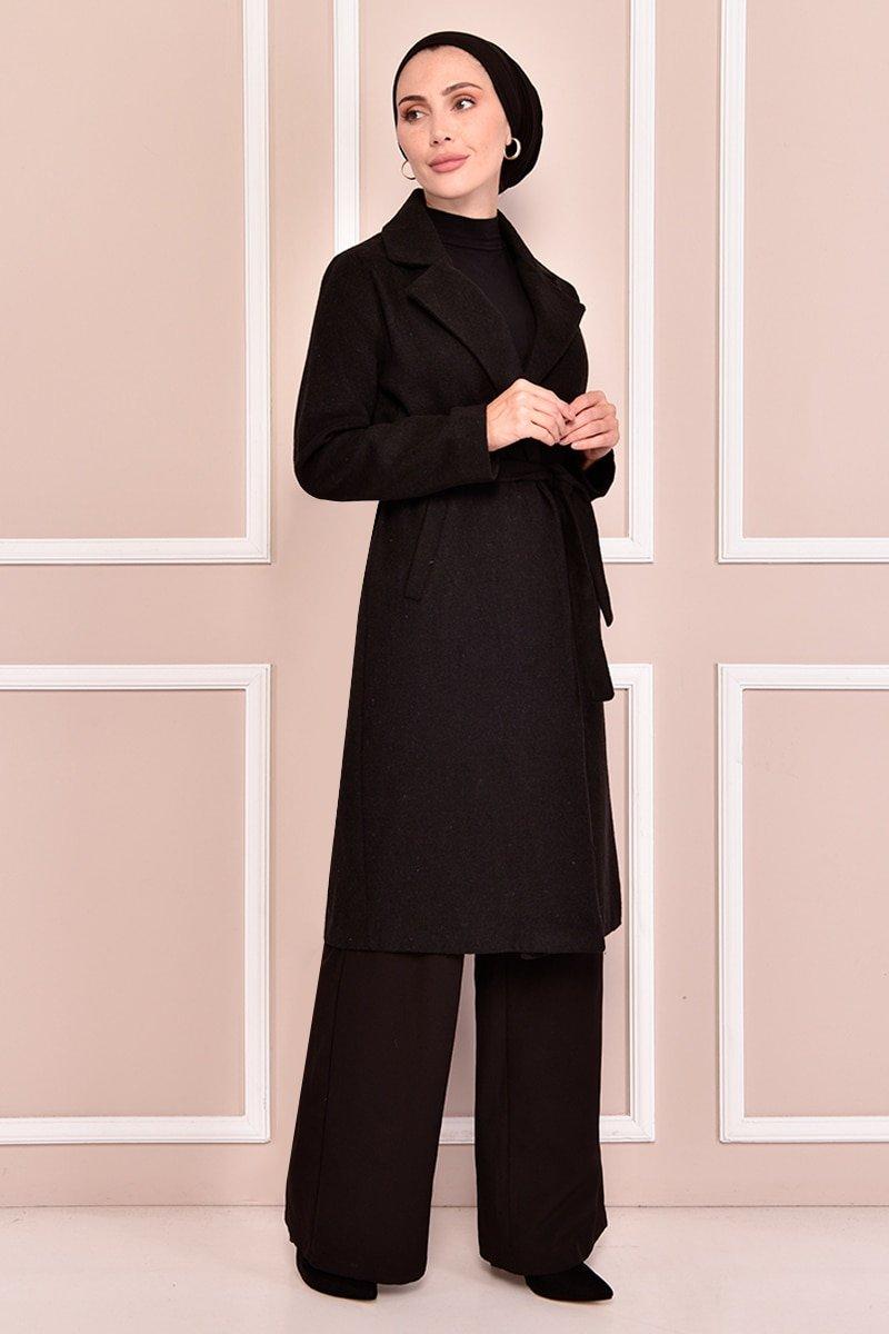 Moda Merve Siyah Kaşe Kaban