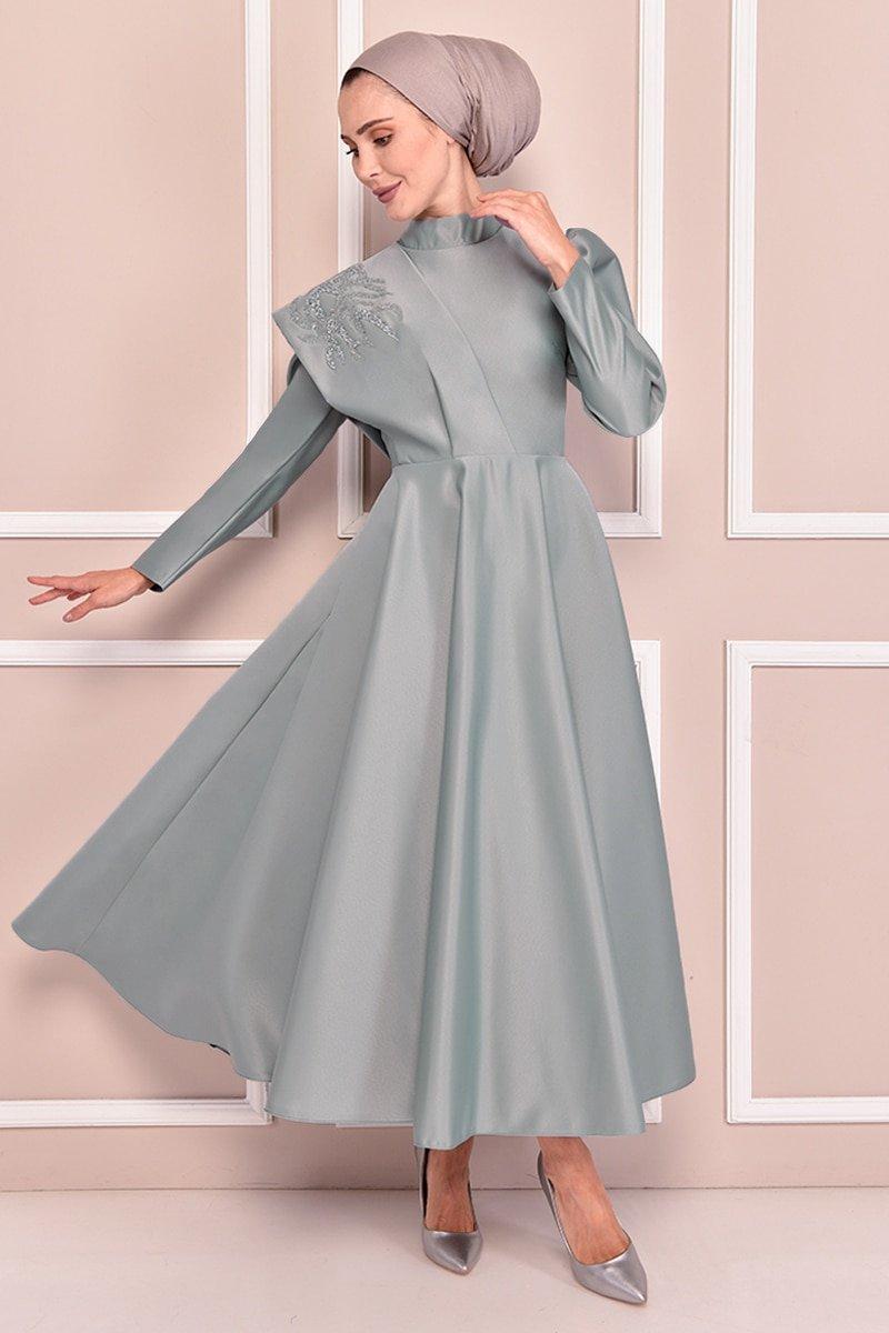 Moda Merve Mint Saten Abiye Elbise