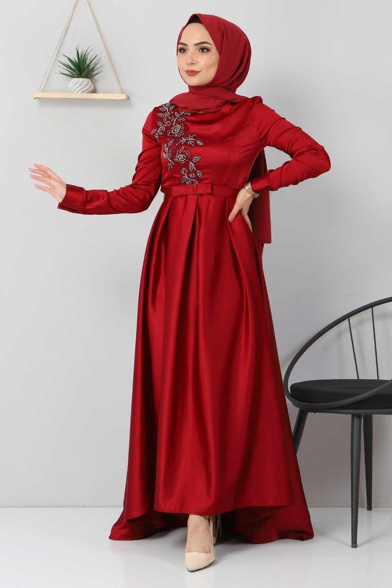 Tesettür Dünyası Bordo Taş Detaylı Saten Abiye Elbise