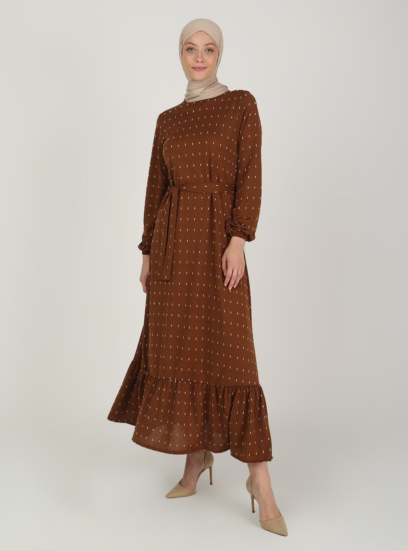 ECESUN Kahverengi Kol Uçları Lastikli Elbise