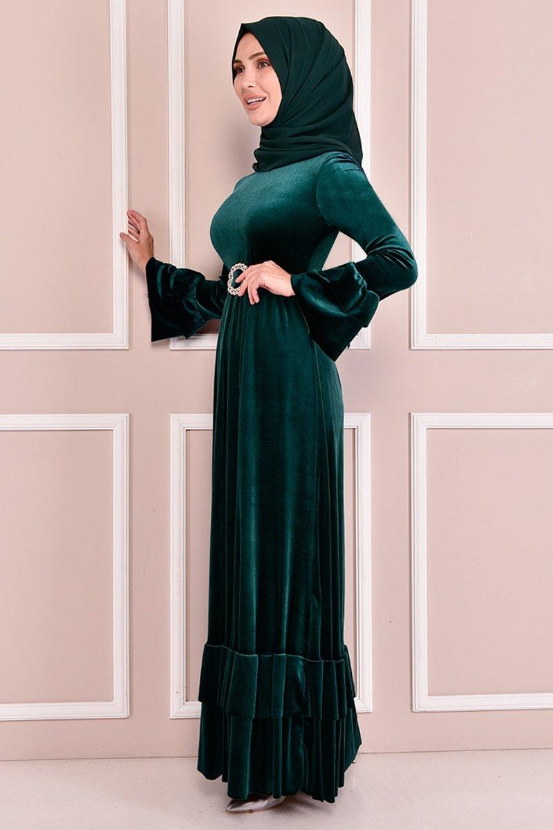 Moda Merve Zümrüt Kemerli Kadife Elbise
