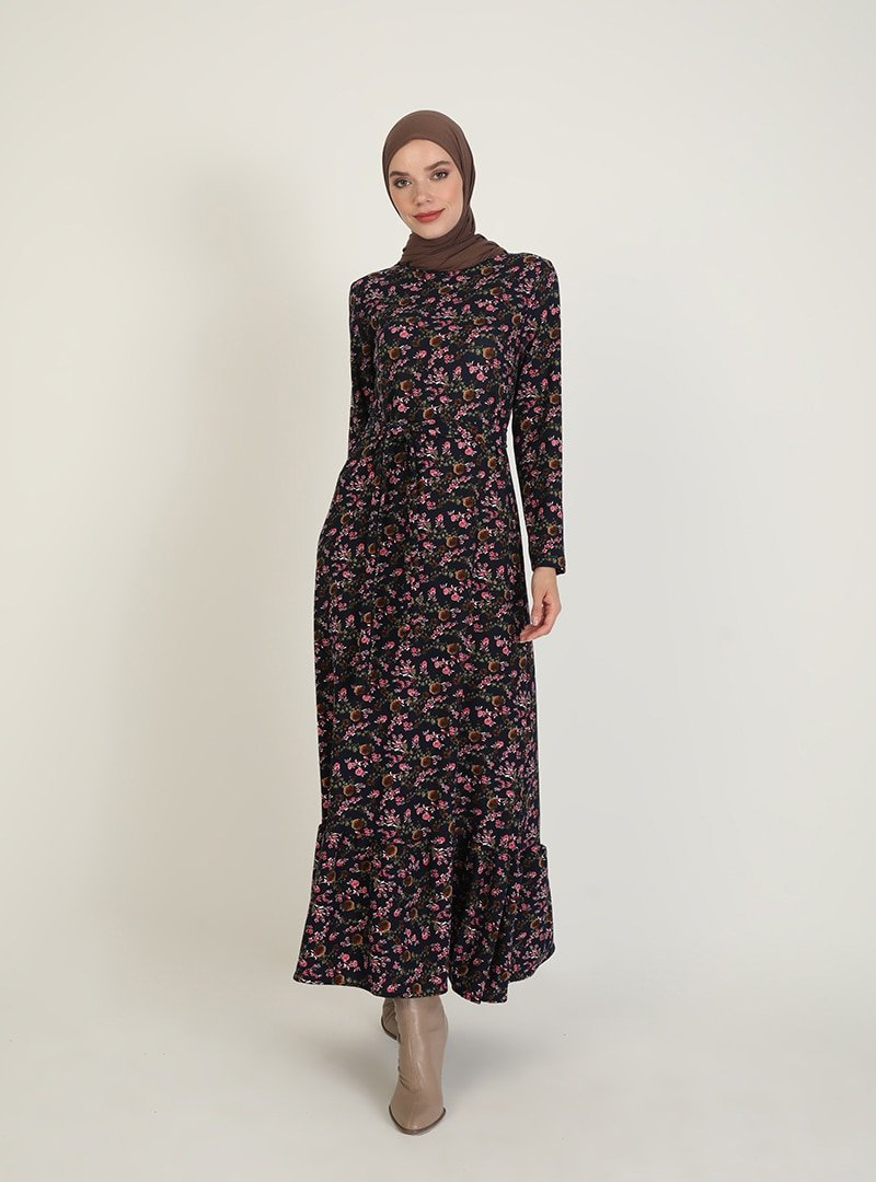 ECESUN Lacivert Desenli Elbise