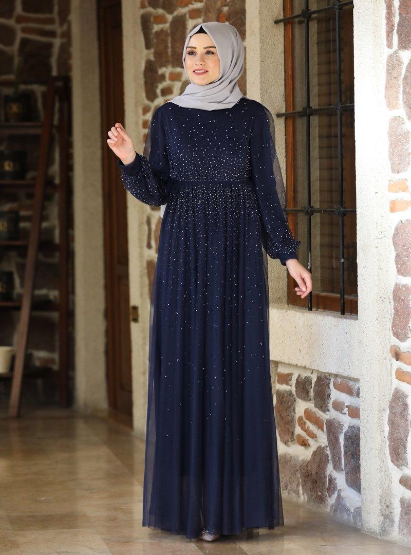 Amine Hüma Lacivert Işıltı Abiye Elbise