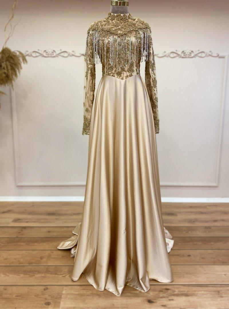 Gamze Özkul Gold Mira Abiye Elbise