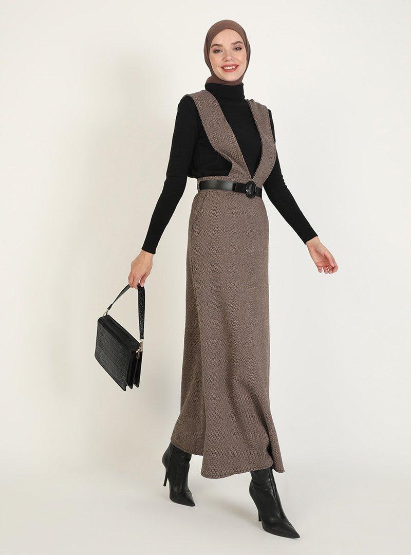 ZENANE Vizon Desenli Elbise