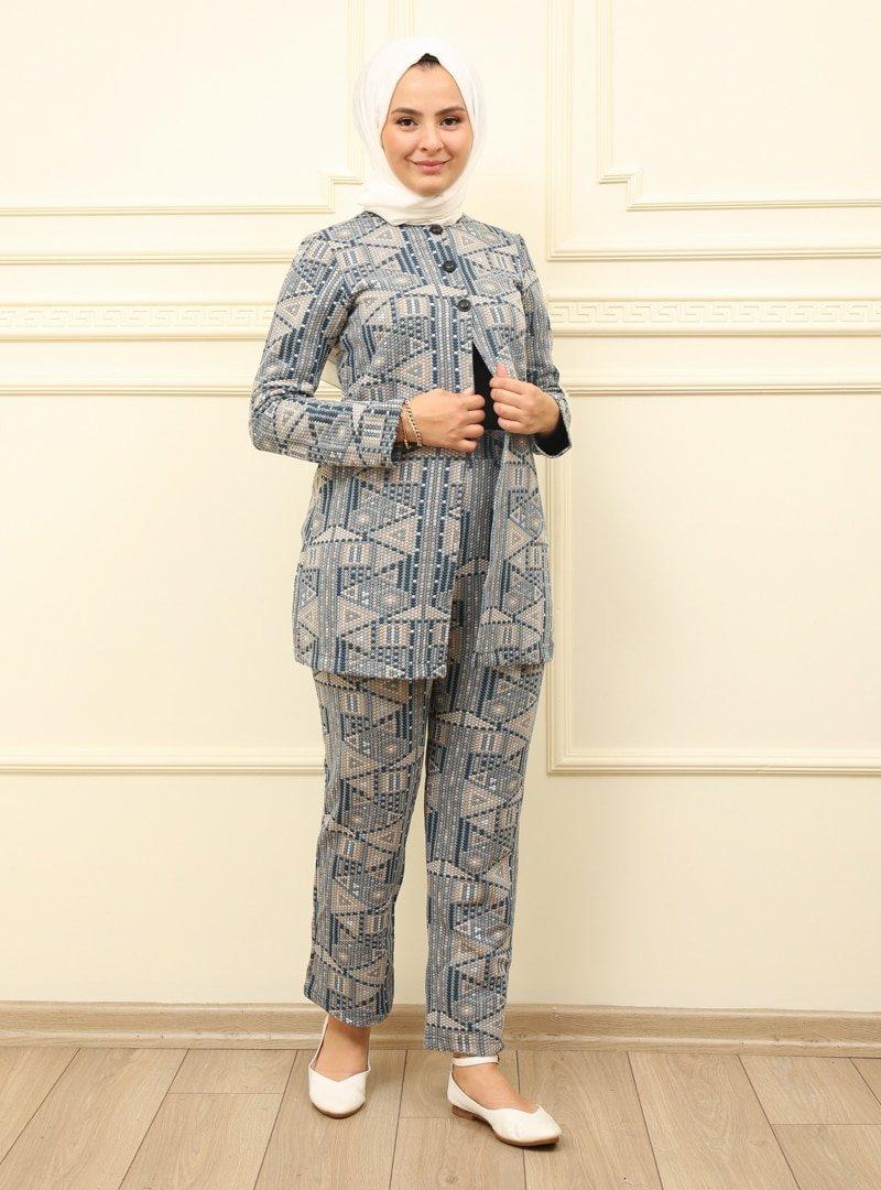 Moda Dua İndigo Tunik & Pantolon İkili Takım