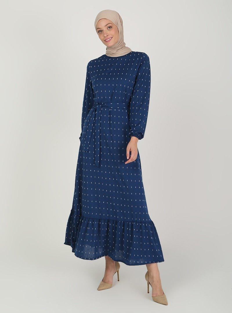 ECESUN İndigo Kol Uçları Lastikli Elbise