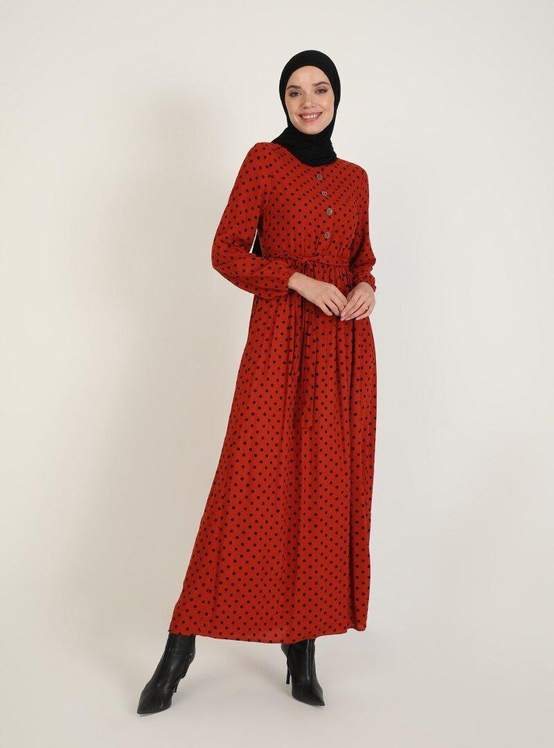 ECESUN Bordo Desenli Elbise