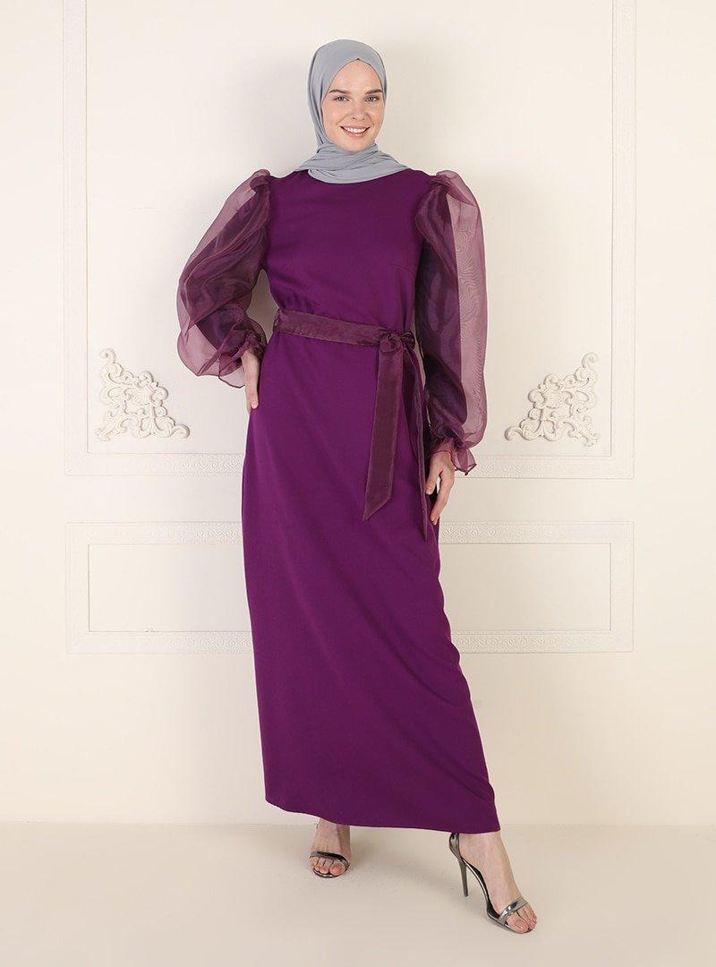 Ziwoman Mürdüm Tül Detaylı Abiye Elbise
