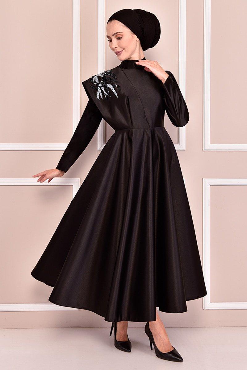 Moda Merve Siyah Saten Abiye Elbise