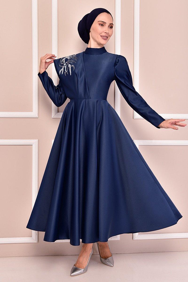 Moda Merve Lacivert Saten Abiye Elbise