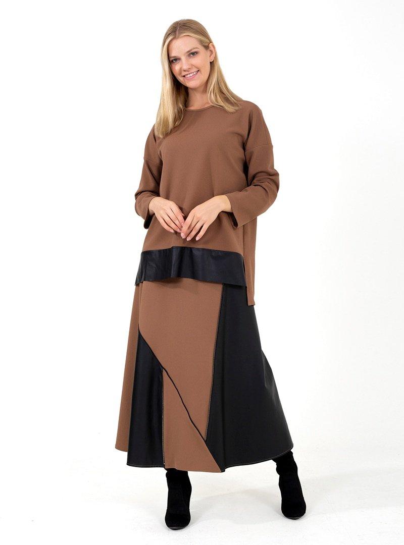 ONX10 Vizon Fermuar Detaylı Deri Garnili Tunik & Etek İkili Takım