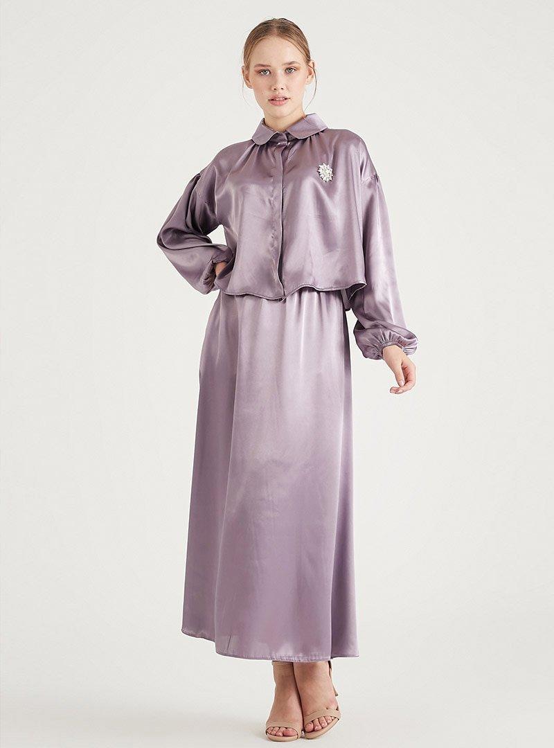Birgül Bektaş Lila Luna Bluz & Etek İkili Abiye Elbise Takım