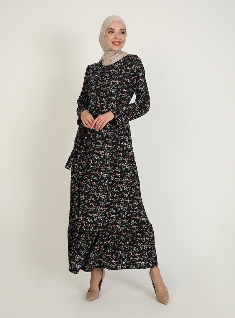 ECESUN Siyah Mor Desenli Elbise